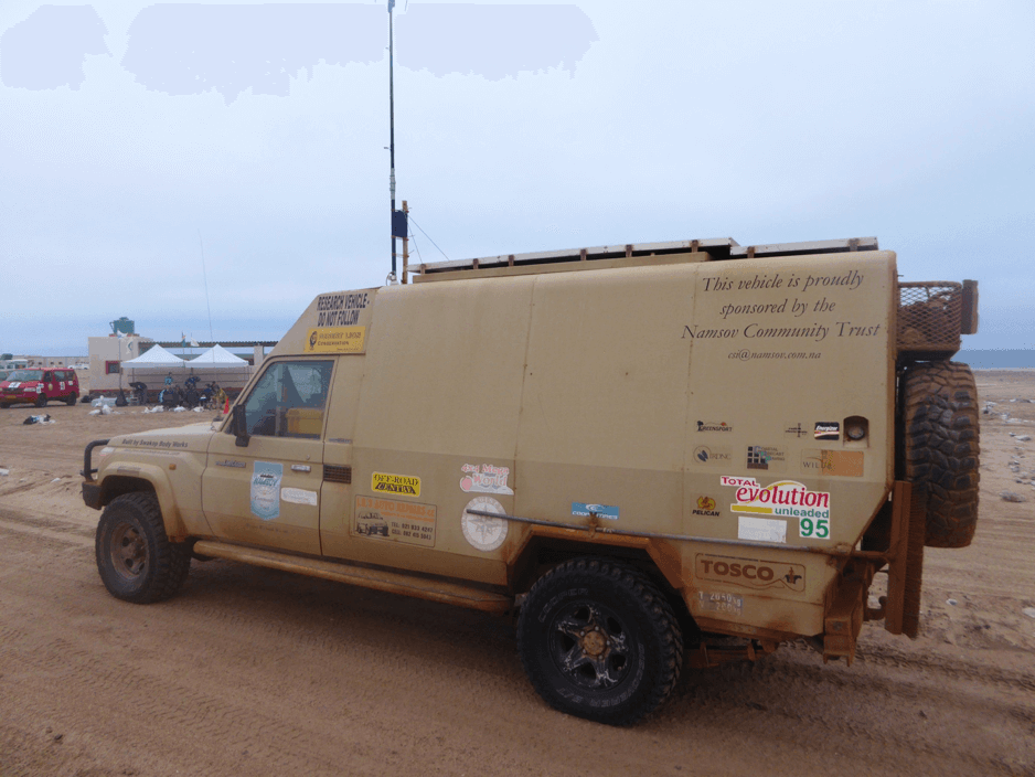 The Desert Lion Truck - home to Dr Philip Stander, who advised the course team on the movements of lions in the area