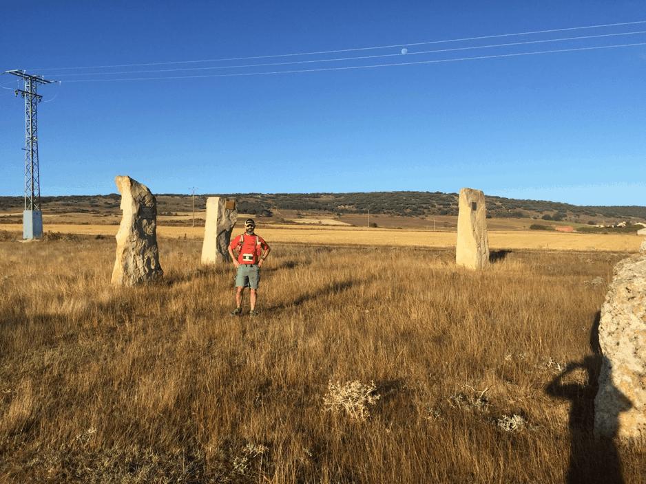 Ash Mokhtari checking out a stone circle on El Camino de Santiago