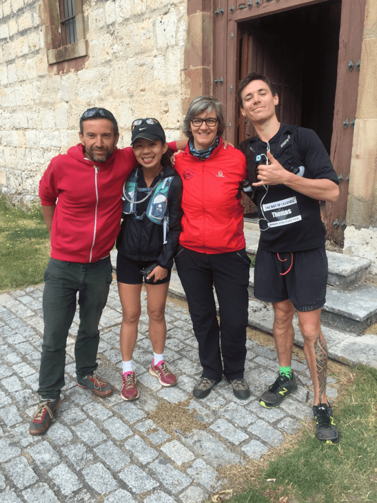 At the stage 5 finish line, with Manu, Deborah Koh, Pilar and little old me